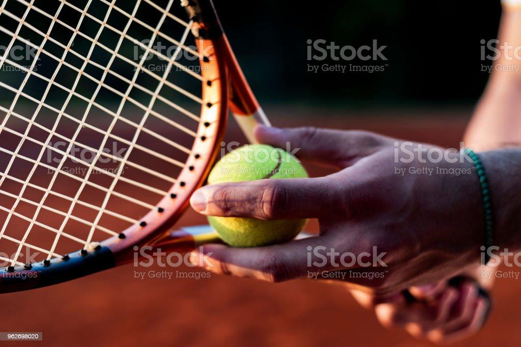 tennis player starting set stock photo