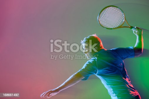 istock Tennis player swinging racket 168661492