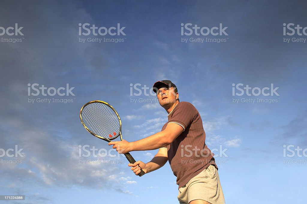Tennis player waiting ball on the net royalty-free stock photo