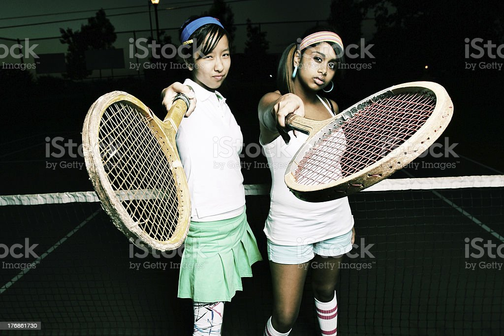 Tennis Players Horizontal Portrait royalty-free stock photo