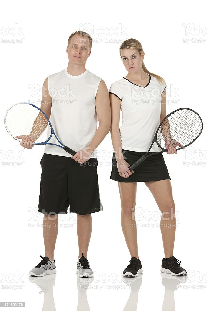 Tennis players with rackets royalty-free stock photo