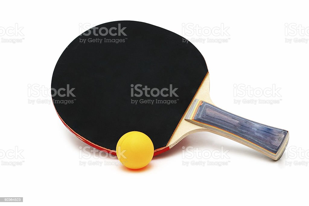 Tennis racket and ball isolated on white royalty-free stock photo