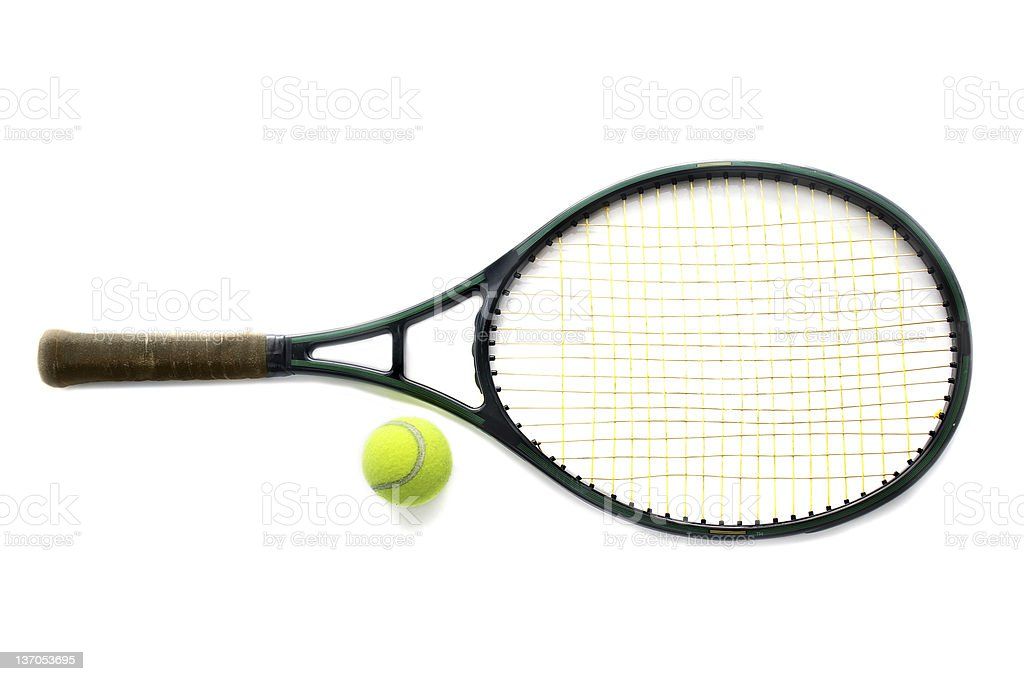 A tennis racket and ball on white stock photo