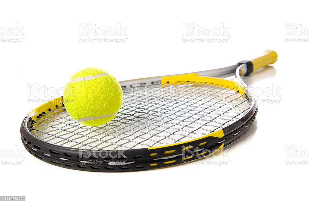 Tennis Racket and ball on white stock photo