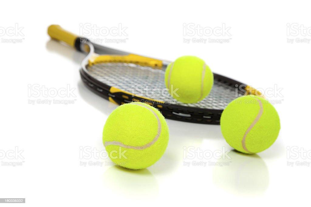 Tennis racket and balls on white royalty-free stock photo