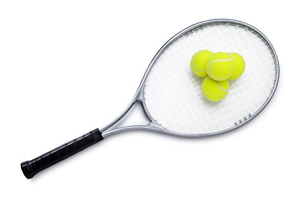Tennis Racket and Balls stock photo