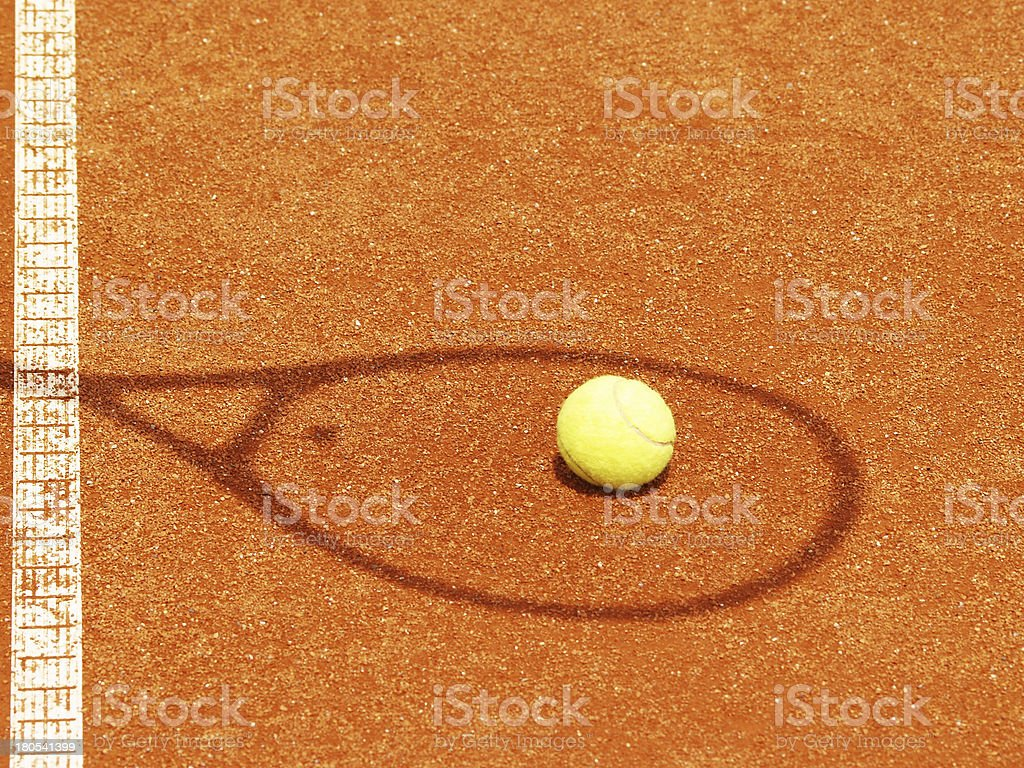 tennis racket shadow with ball royalty-free stock photo