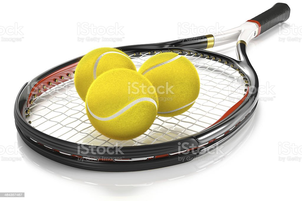 Tennis Racket with 3 Balls royalty-free stock photo