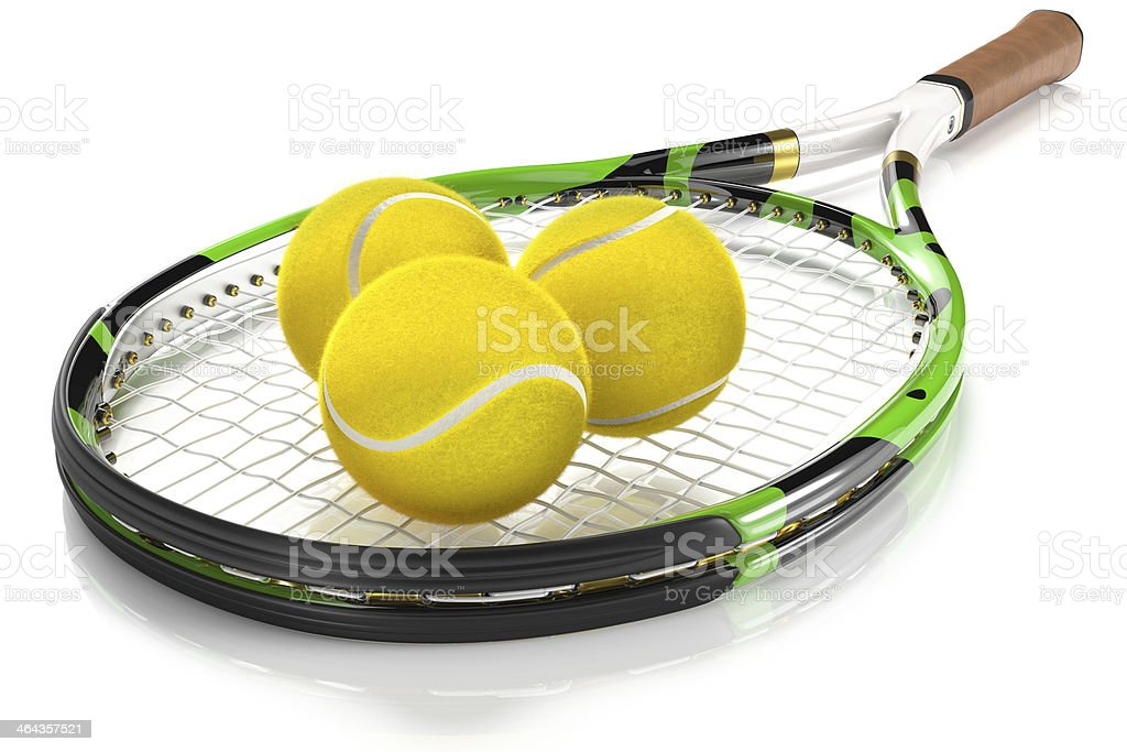 Tennis Racket with 3 Balls stock photo
