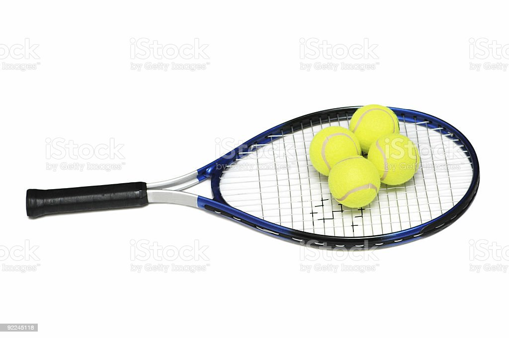 Tennis rackets and four balls isolated on white royalty-free stock photo