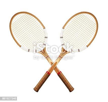 istock Tennis rackets on white 861927346