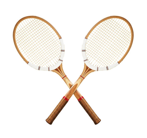 Tennis rackets on white stock photo