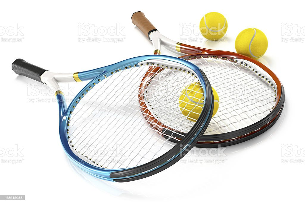 Tennis Rackets with 3 Balls stock photo