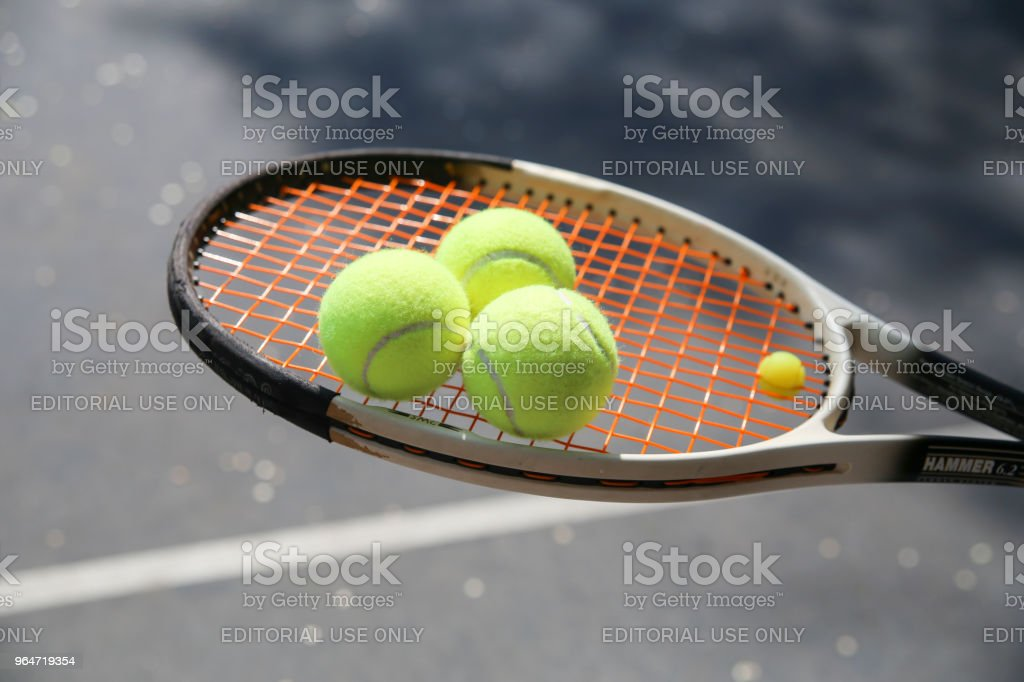 Tennis racquet close up royalty-free stock photo