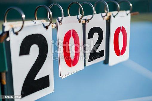 Tennis scoreboard New year 2020