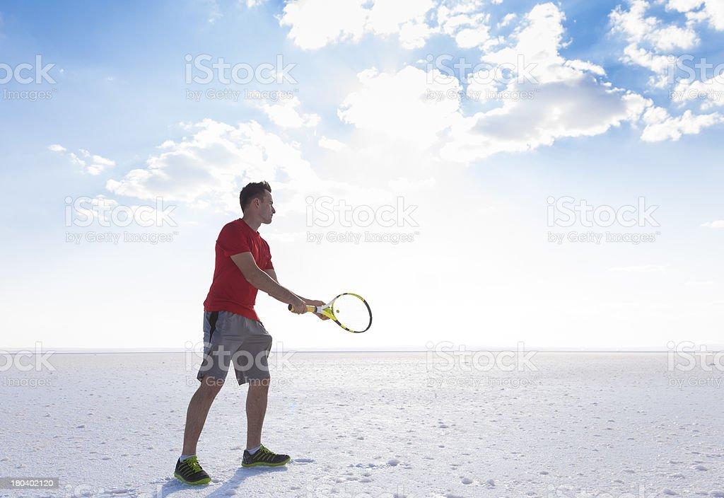 Tennis serve motion royalty-free stock photo