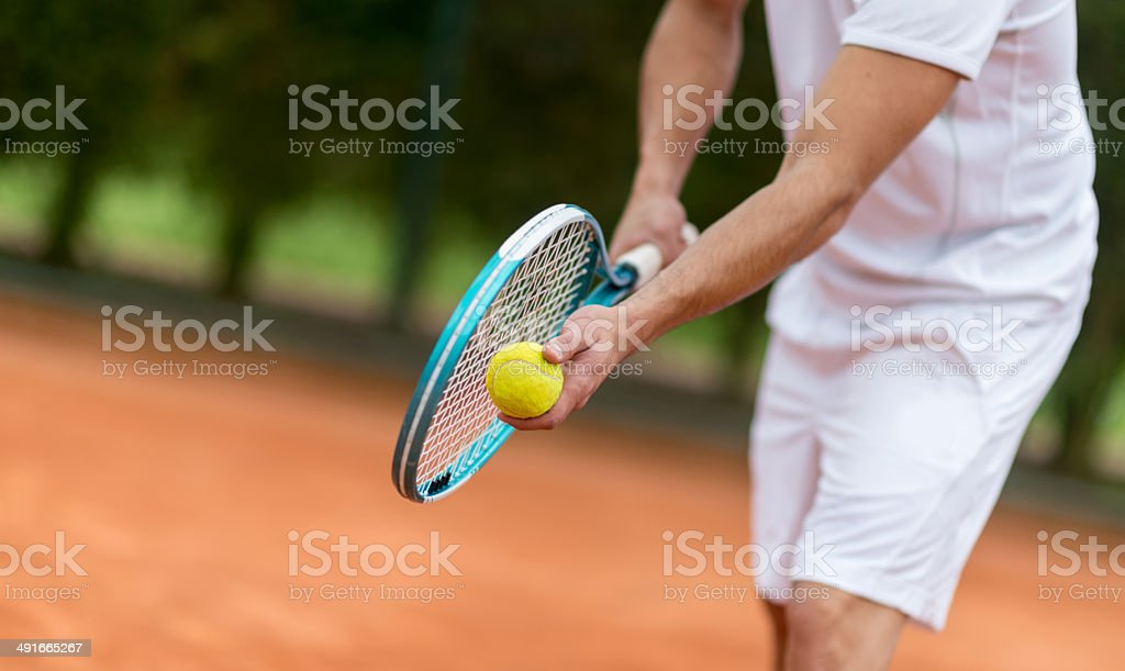 Tennis service stock photo