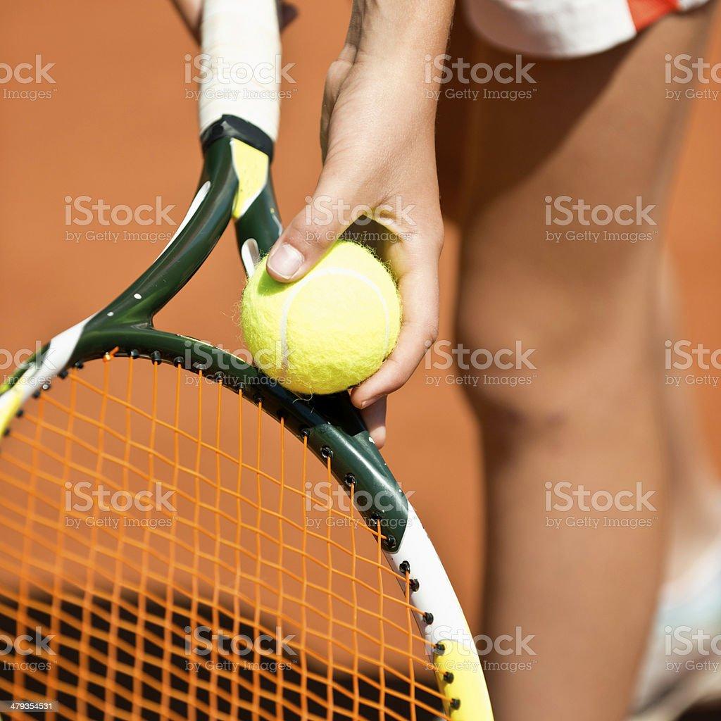 Tennis serving detail royalty-free stock photo