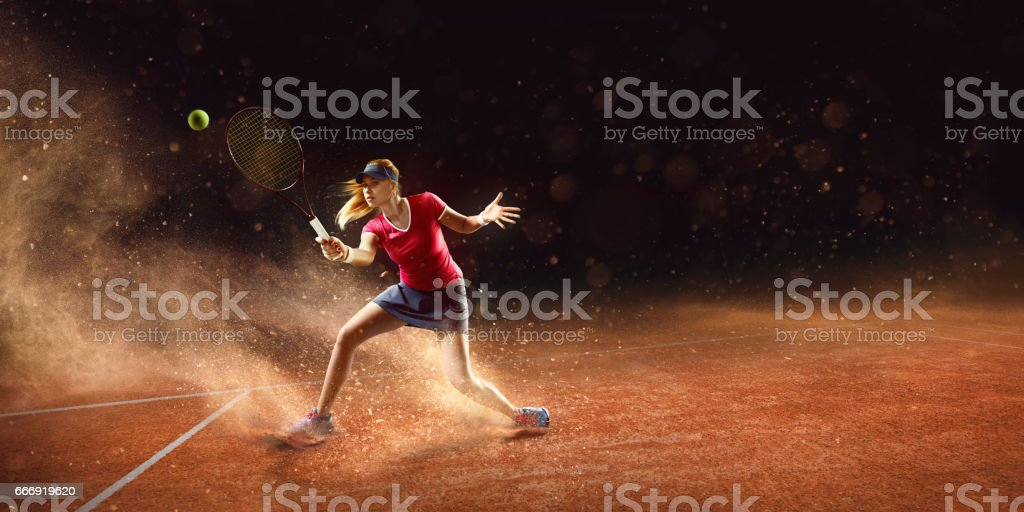 Tennis: Sportswoman in action stock photo