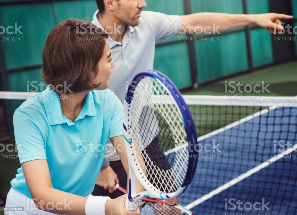Tennis Training Coaching Exercise Athlete Active Concept stock photo