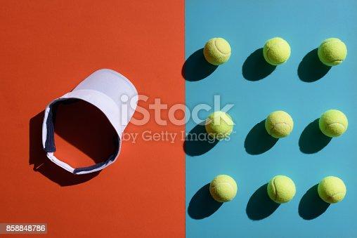 istock tennis visor and balls 858848786