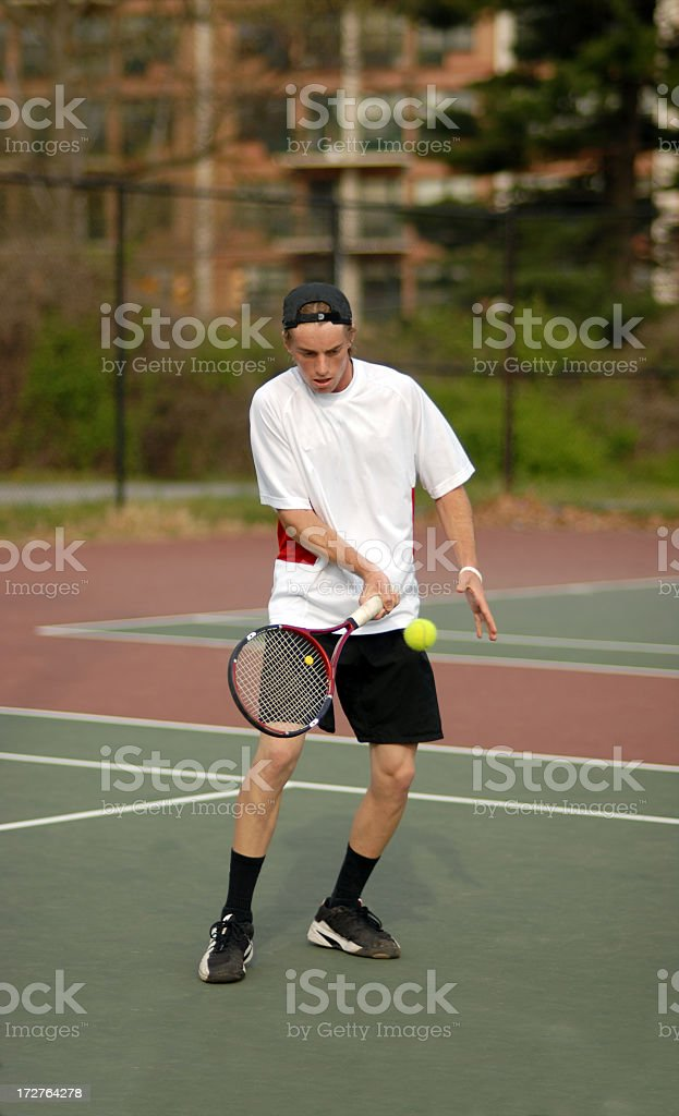 Tennis Volley by college player royalty-free stock photo