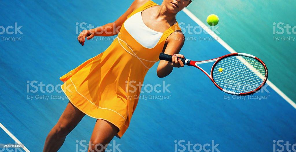 Tennis volley shot. stock photo