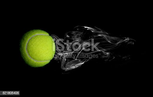 1153628111istockphoto Tennis with smoke on black background 521805405