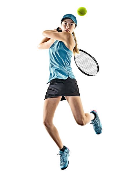 tennis woman isolated silhouette - tennis stock photos and pictures