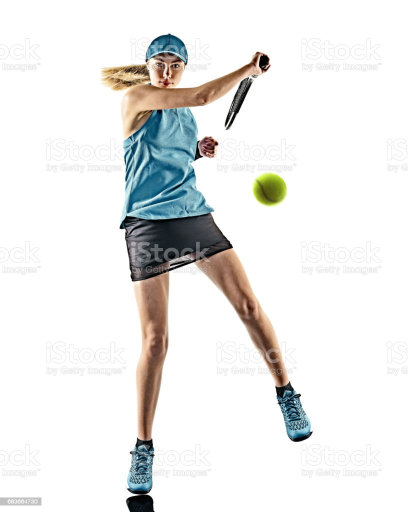 tennis woman isolated silhouette stock photo