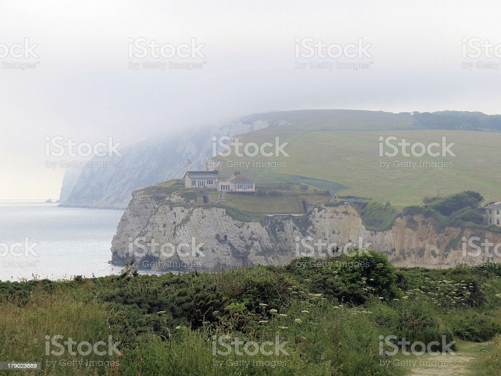 Tennyson down in the mist stock photo