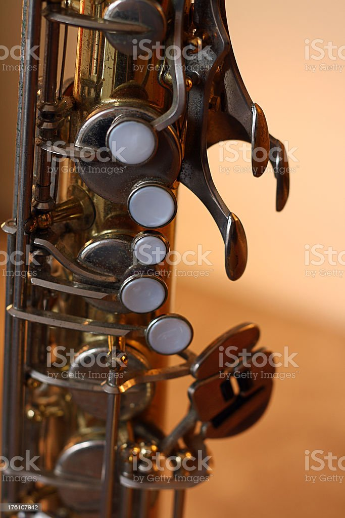 tenor saxophone close-up stock photo