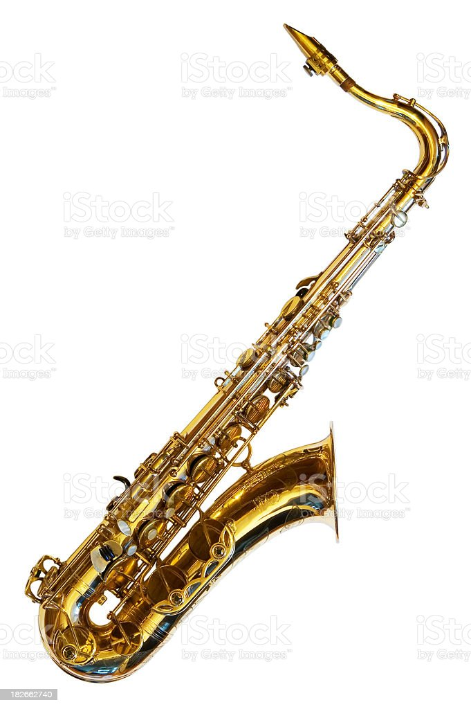 Tenor saxophone isolated on white background stock photo