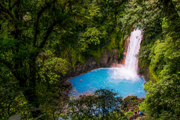Cascada Tenorio Tenorio Park waterfall, crystal clear water that comes from the volcano with the same name. Trees surrounding the waterfall. central america stock pictures, royalty-free photos & images