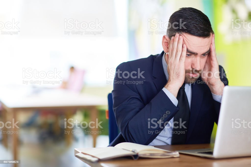Tense man stock photo