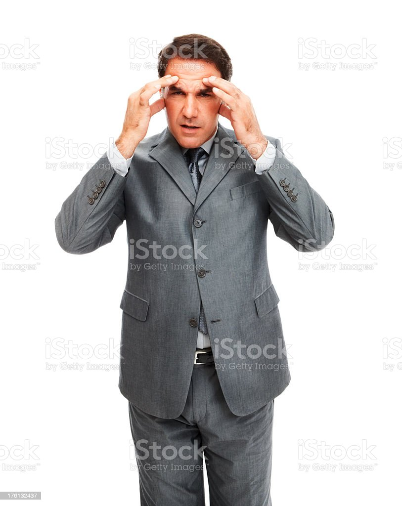 Tensed businessman with his head in hands royalty-free stock photo