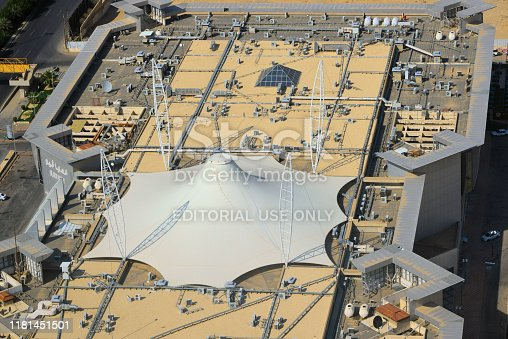 Riyadh, Saudi Arabia: Olaya View shopping center seen from above - tensile structure on the roof of the Olaya View shopping center - King Fahd Road