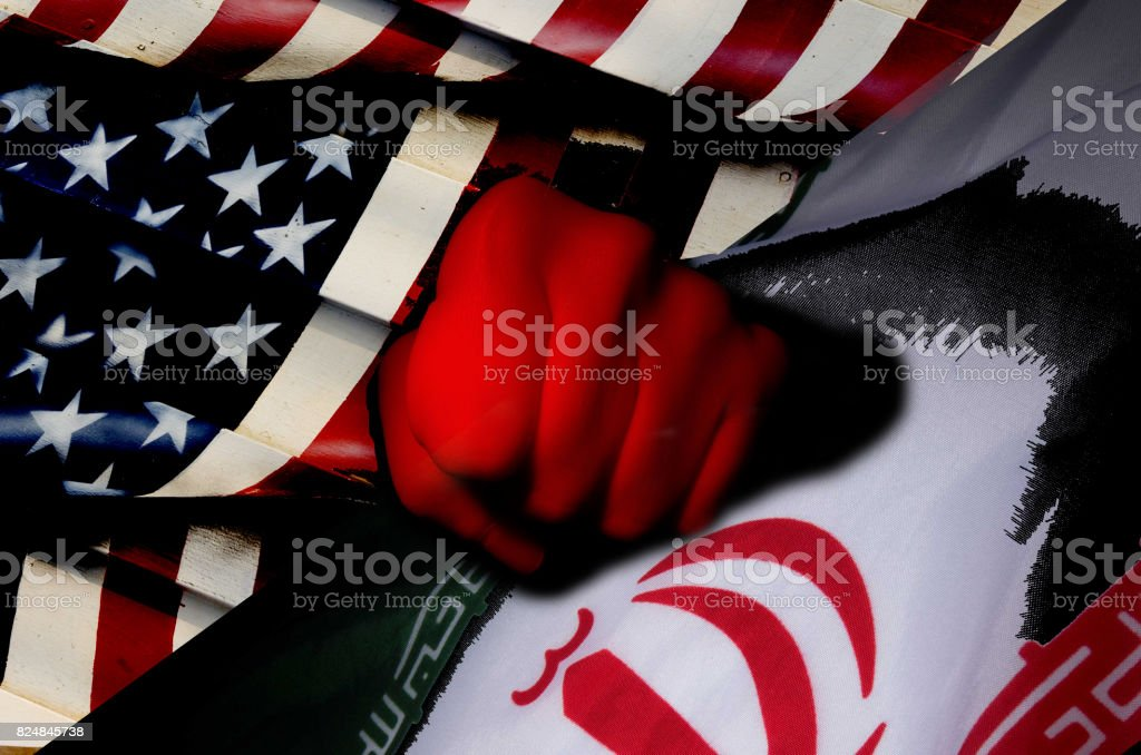 Tension between usa and iran stock photo