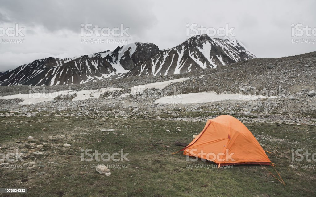 Tent at Basecamp of Malchin Peak - Altai Tavan Bogd National Park Mongolia stock photo