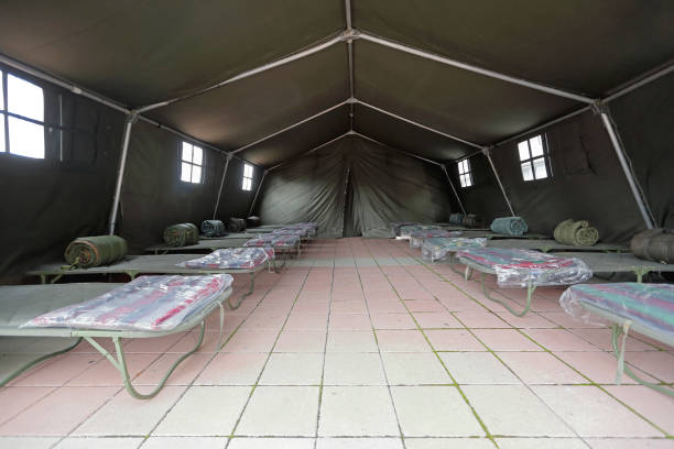 Tent Beds Emergency stock photo
