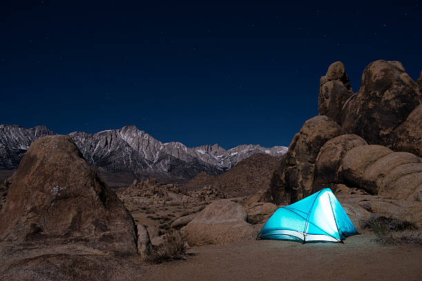 Tent Below Mount Whitney stock photo