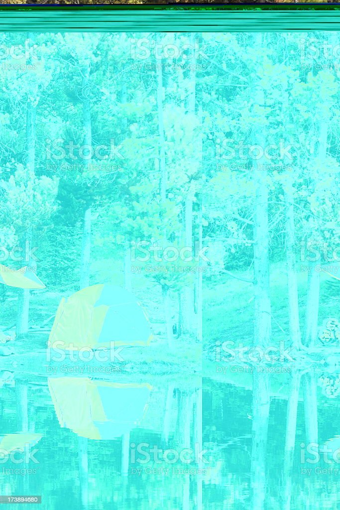 Tent Camp Lake Reflection Tranquil Forest stock photo