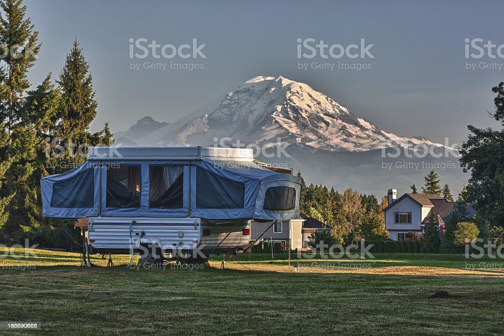 Tent Camper In a Neighborhood Back Yard royalty-free stock photo