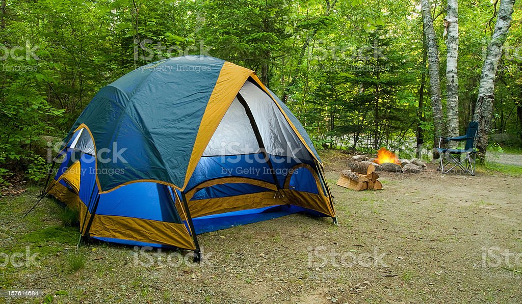 Tent Camping During Summer in the Great Outdoors royalty-free stock photo