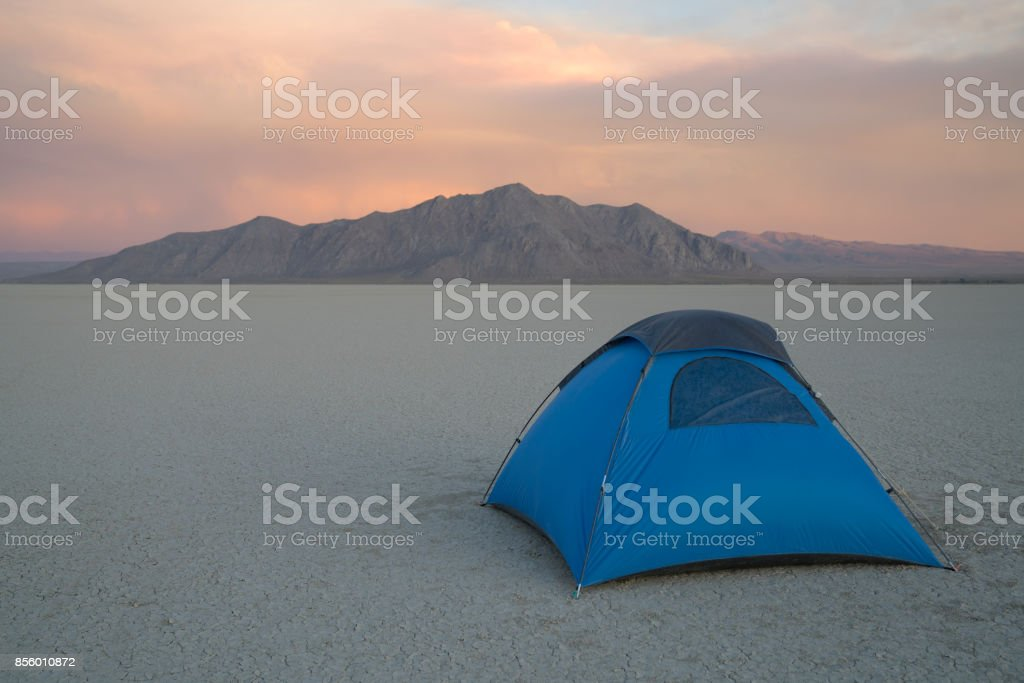 Tent Camping in the Desert stock photo