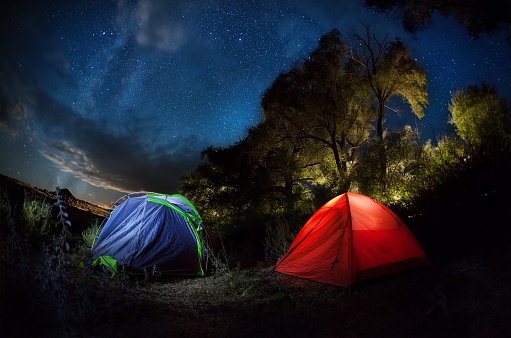 Tent Camping Under Starry Night Stock Photo - Download ...