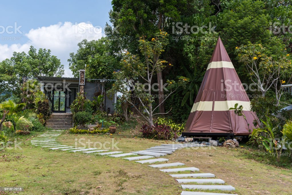 Tent for camping with path stock photo