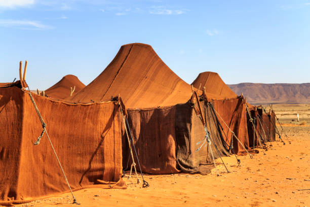 Huis van de tent in de woestijn foto