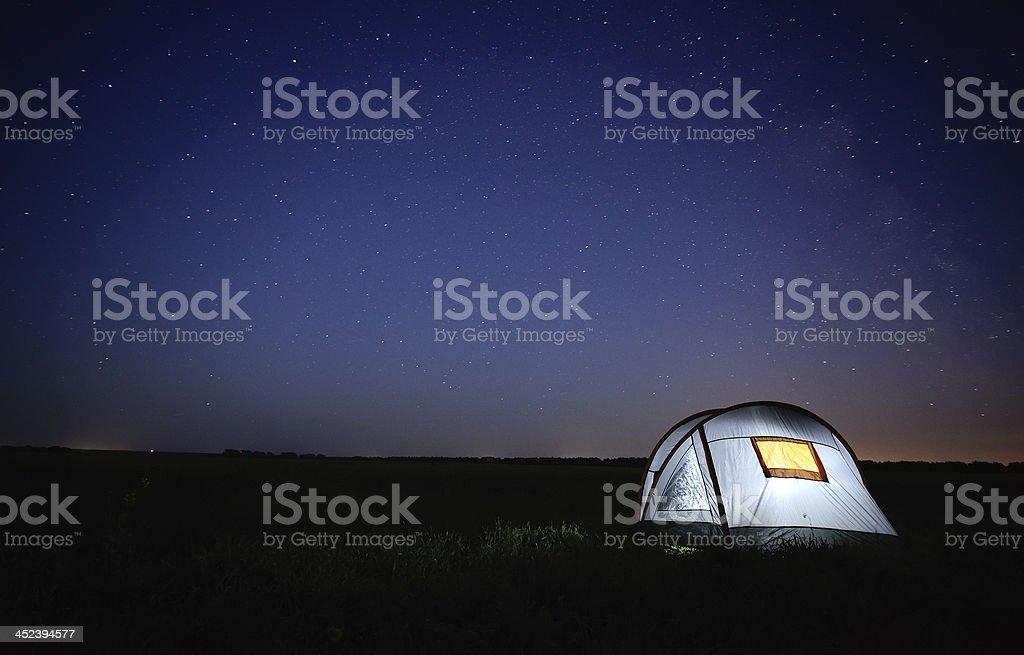 Cтоковое фото Тент освещенное ночью