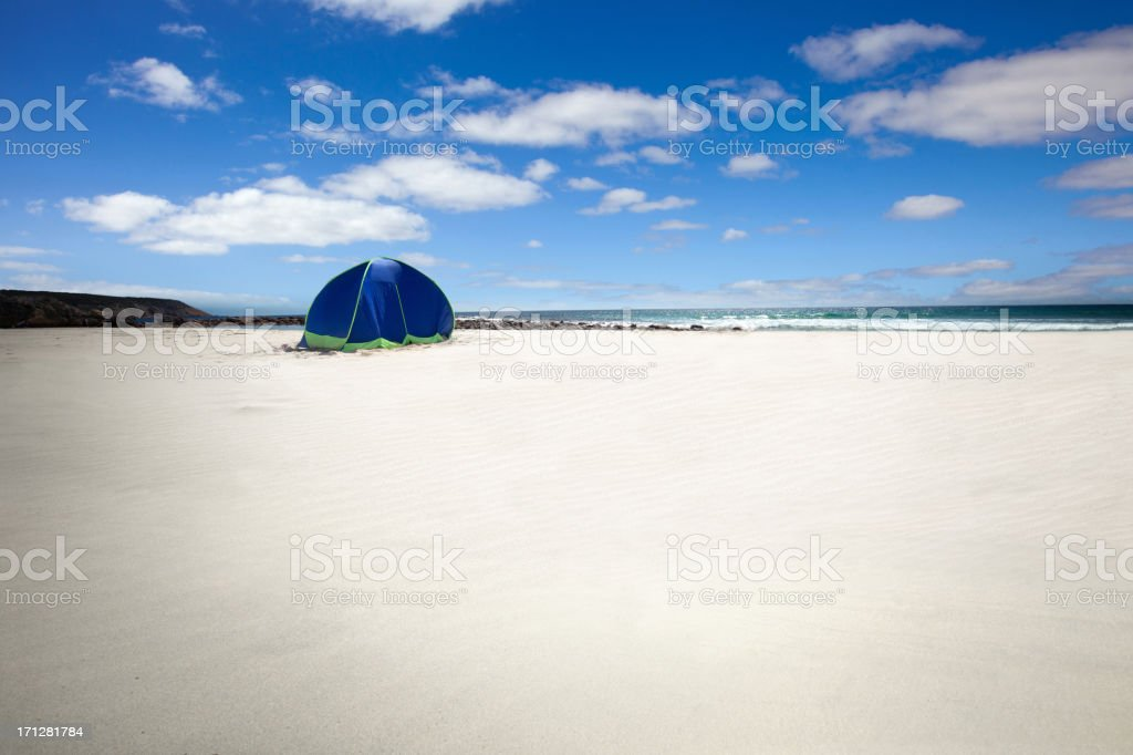 Tent in a beautiful white sand beach stock photo